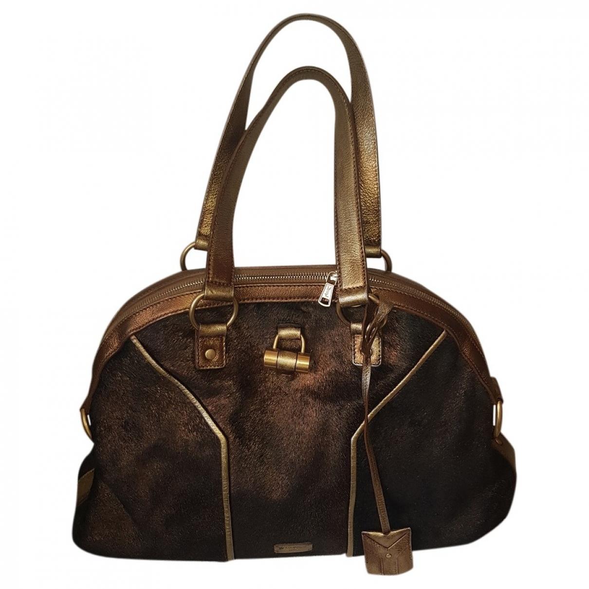 Yves Saint Laurent Muse Brown Pony-style calfskin handbag for Women \N