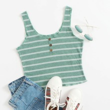 Buttoned Front Striped Tank Top