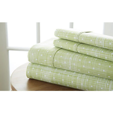 Casual Comfort Premium Ultra Soft Polka Dot Pattern Microfiber Wrinkle Free Sheet Set, One Size , Gray