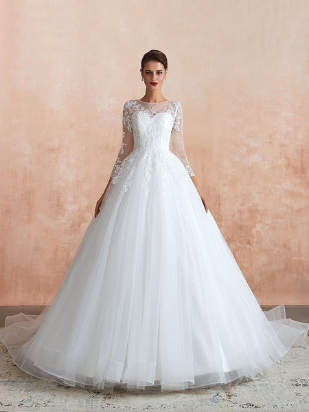 Milanoo Wedding Gown 2020 3/4 Sleeve Jewel Neck Lace Appliqued Beaded Ball Gown Bridal Wedding Dress With Train