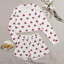 Allover Heart Print Shorts PJ Set