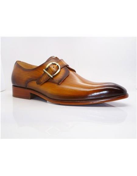 Mens Stitched Welt Buckle Closure Grey Carrucci Shoe