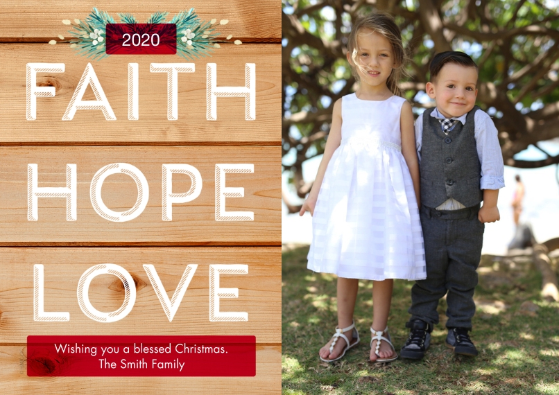 Christmas Photo Cards 5x7 Cards, Premium Cardstock 120lb with Rounded Corners, Card & Stationery -2020 Faith, Hope, Love - Rustic by Hallmark