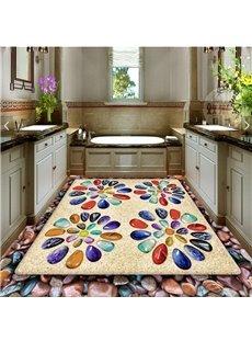Colorful Pebbles Flower Pattern Decorative Waterproof Splicing 3D Floor Murals