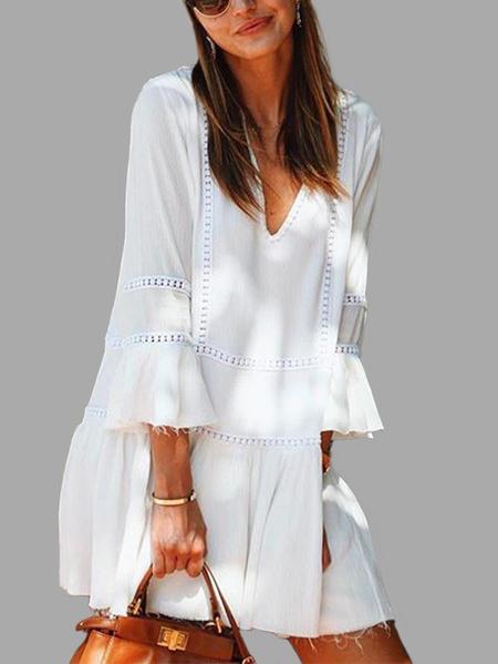 Yoins White V-Neck Bell 3/4 Length Sleeves Ruffle Hem Mini Dress