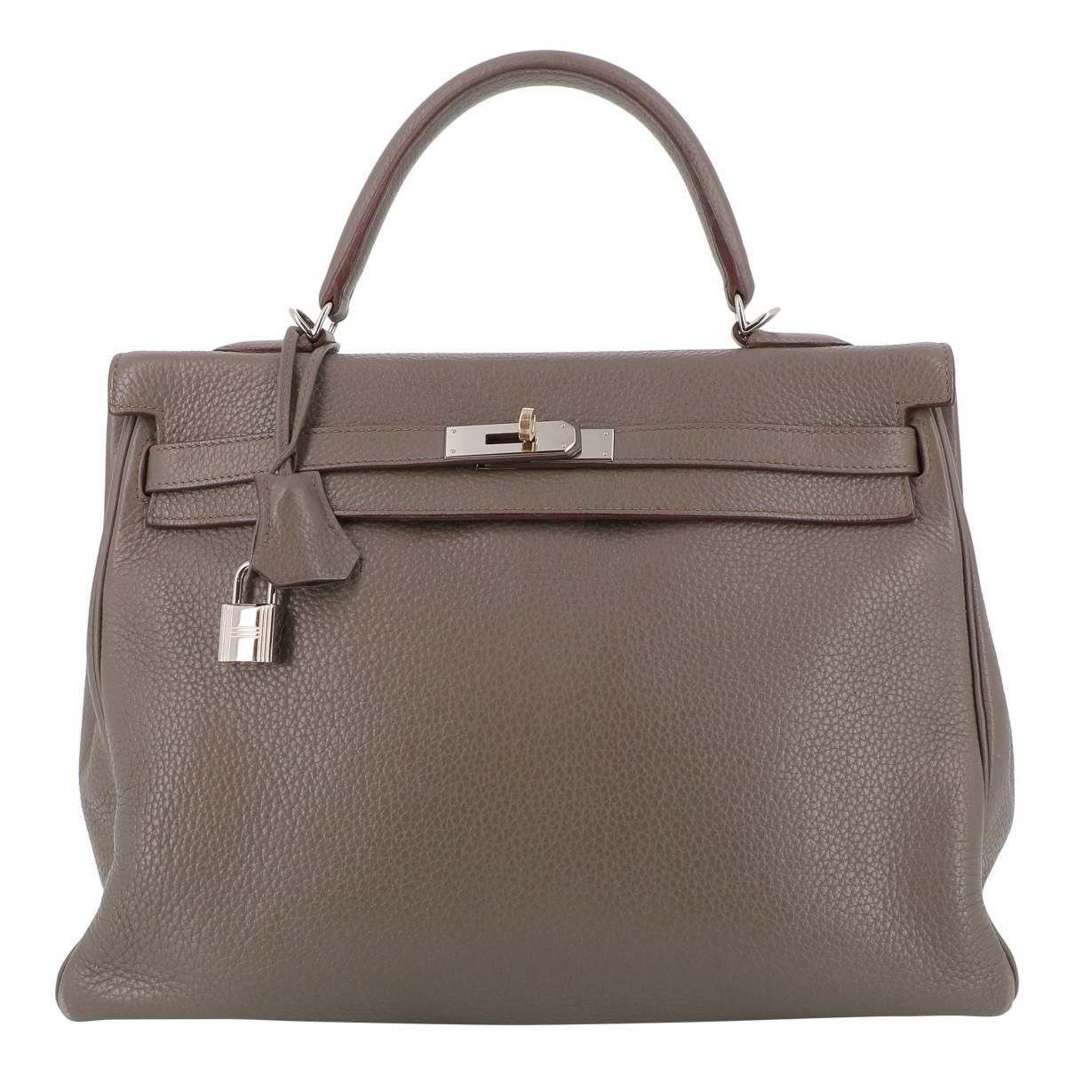 Hermes Kelly 35 Handtasche in  Braun Leder