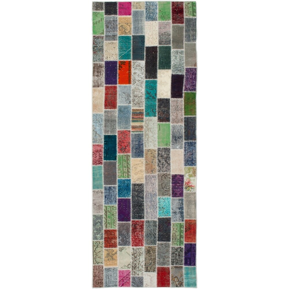 ECARPETGALLERY Hand-knotted Color Transition Patchwork Multi Wool Rug - 3'3 x 10'2 (Multi Color - 3'3 x 10'2)