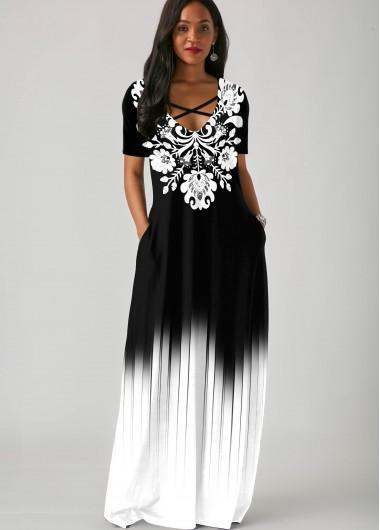 Cocktail Party Dress Side Pocket Tribal Print Gradient Maxi Dress - S