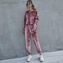Solid Ruffle Trim Velvet Top & Sweatpants