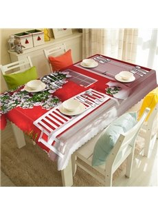 Red Polyester House and Flower Pattern 3D Tablecloth