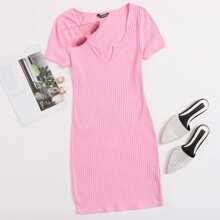 Notched Neck Rib-knit Dress