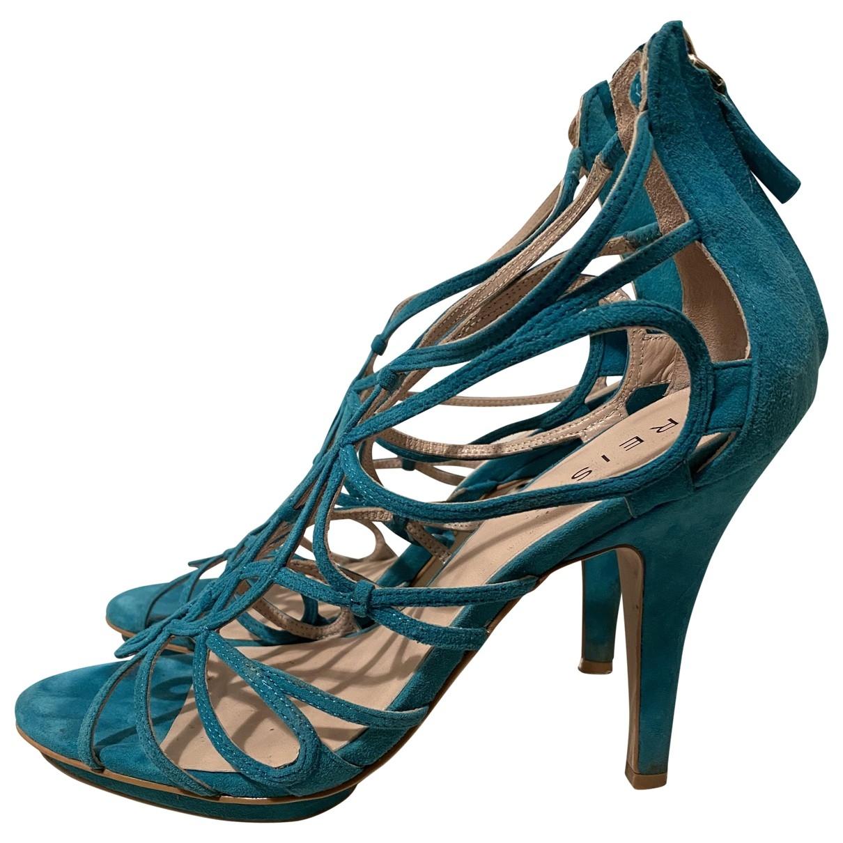 Reiss - Sandales   pour femme en suede - turquoise