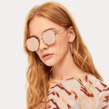 Metal Polygon Frame Mirror Lens Sunglasses
