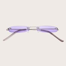 Gafas de sol de marco irregular sin aro con estuche