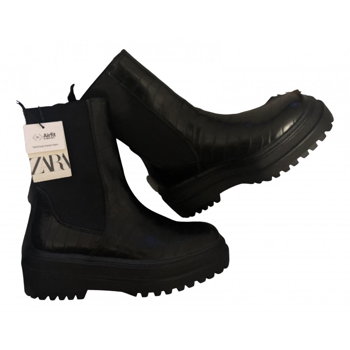 Zara N Black Leather Boots for Women 37 EU
