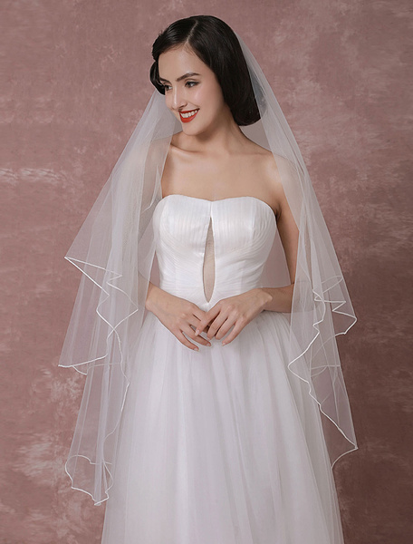 Milanoo White Wedding Veil Classic Tulle Two Tier Finished Edge Bridal Veil
