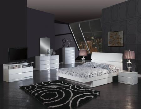 343933 79'' X 80'' X 42.5'' 4 PC Eastern King Modern White High Gloss Bedroom