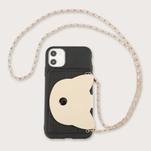 1pc Chain Detail Wallet iPhone Case
