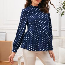 Maternity Mock Neck Polka Dot Peplum Top