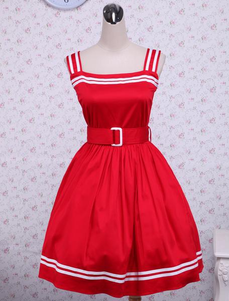 Milanoo Vestido de lolita de algodon rojo con escote cuadrado y volante fruncido