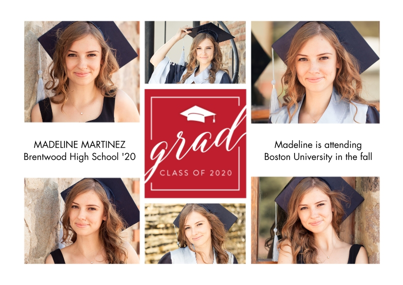 2020 Graduation Announcements 5x7 Cards, Premium Cardstock 120lb with Rounded Corners, Card & Stationery -Grad Cap 2020 by Tumbalina