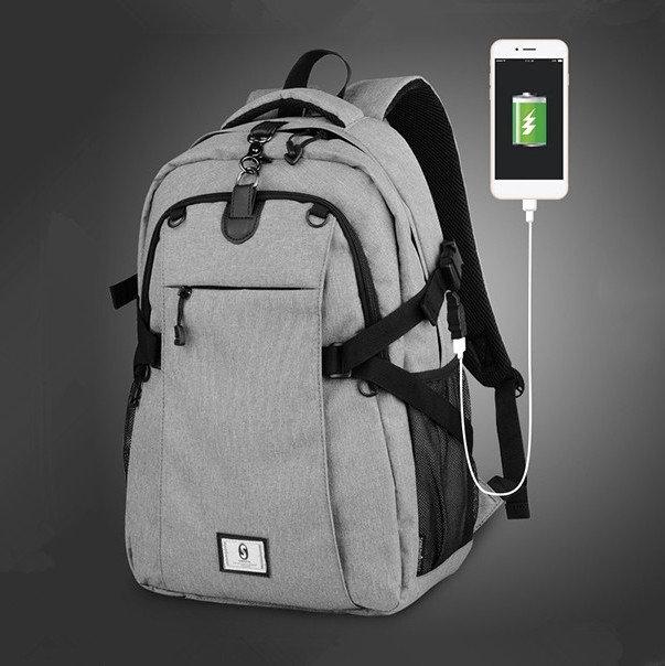 Men Oxford Outdoor Sport USB Charging 17 Inch Laptop Bag Basketball Bag Backpack