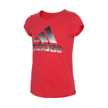 adidas Little Girls Short Sleeve T-Shirt, 6x , Pink