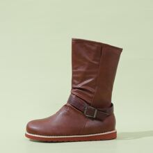 Buckle Decor Wide Fit Boots