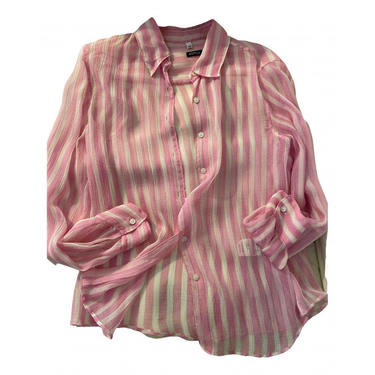 Aspesi - Top   pour femme en soie - rose