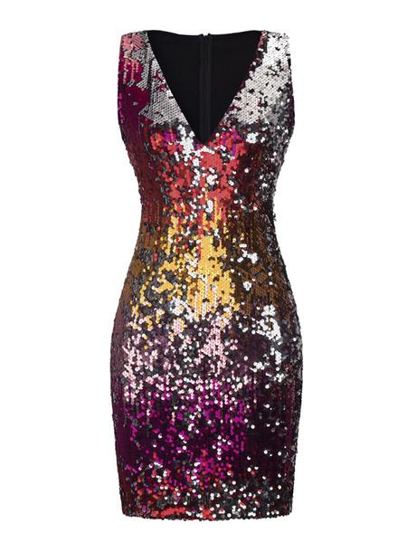 Milanoo Vestido de club para mujer Vestido sexy con cuello en V morado con lentejuelas Ombre Bodycon