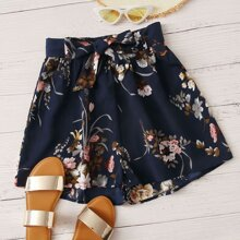 Shorts de gasa con cordon con estampado floral - grande