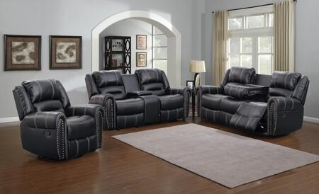 Braxton 1027-S-BK-3PC 3 Piece Living Room Set with Sofa  Loveseat and Chair in
