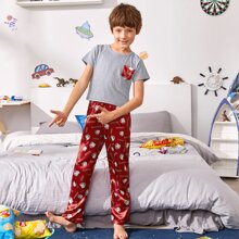 Boys Pocket Front Tee & Letter Graphic Satin Pants PJ Set