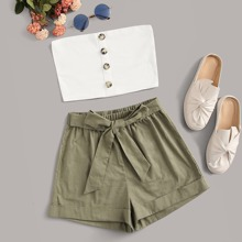 Buttoned Cropped Tube Top & Belted Shorts Set