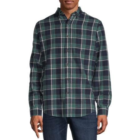 St. John's Bay Super Soft Mens Long Sleeve Flannel Shirt, Medium , Blue