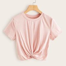 Crop T-Shirt mit Twist vorn und Streifen