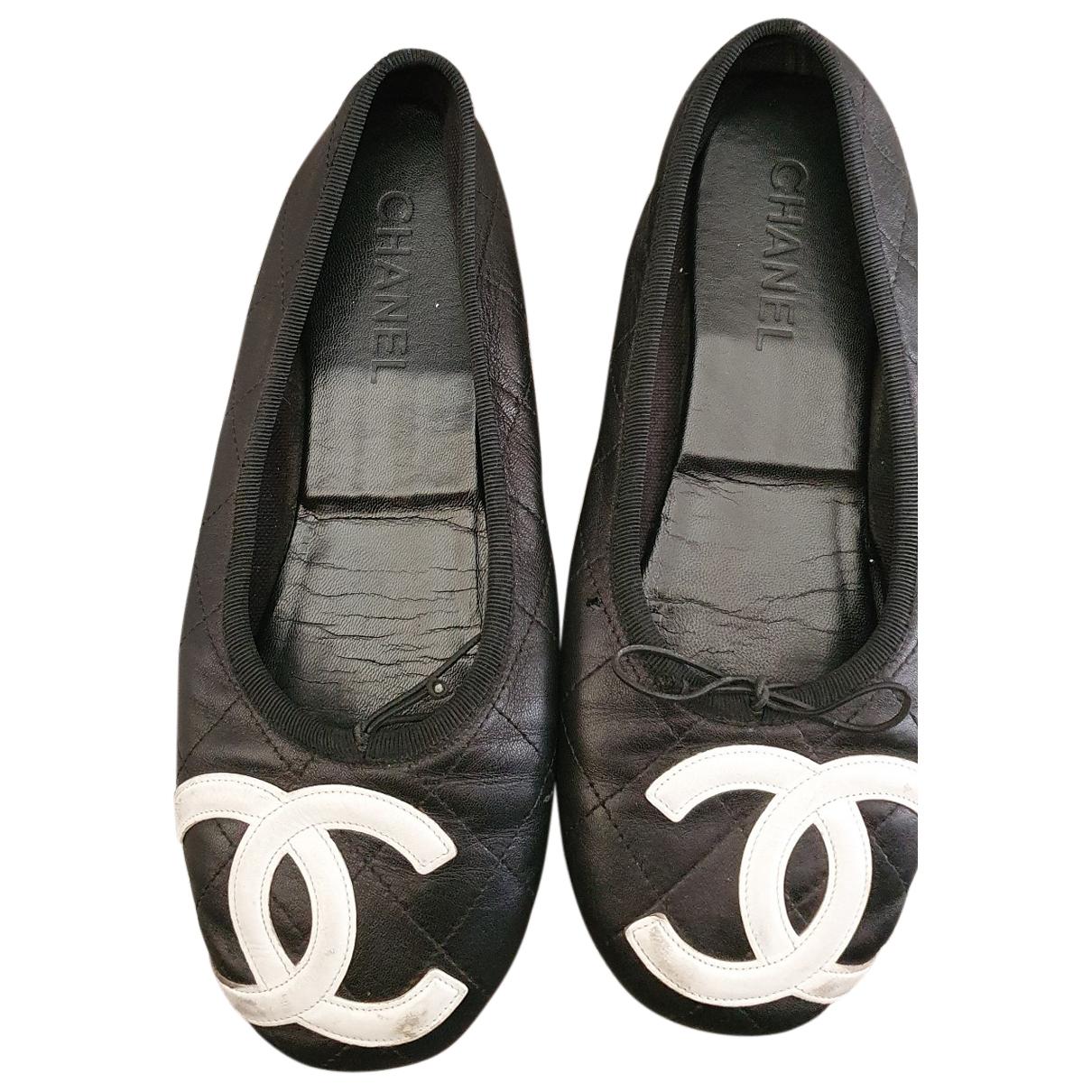 Chanel - Ballerines Cambon pour femme en cuir - noir