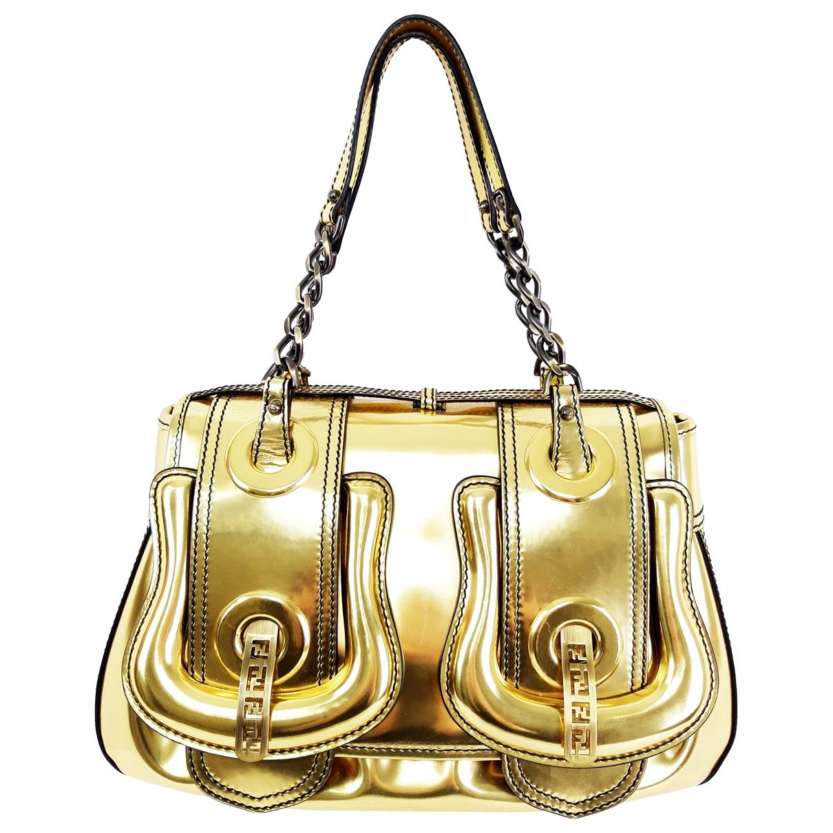 Fendi B Bag Handtasche in  Gold Lackleder