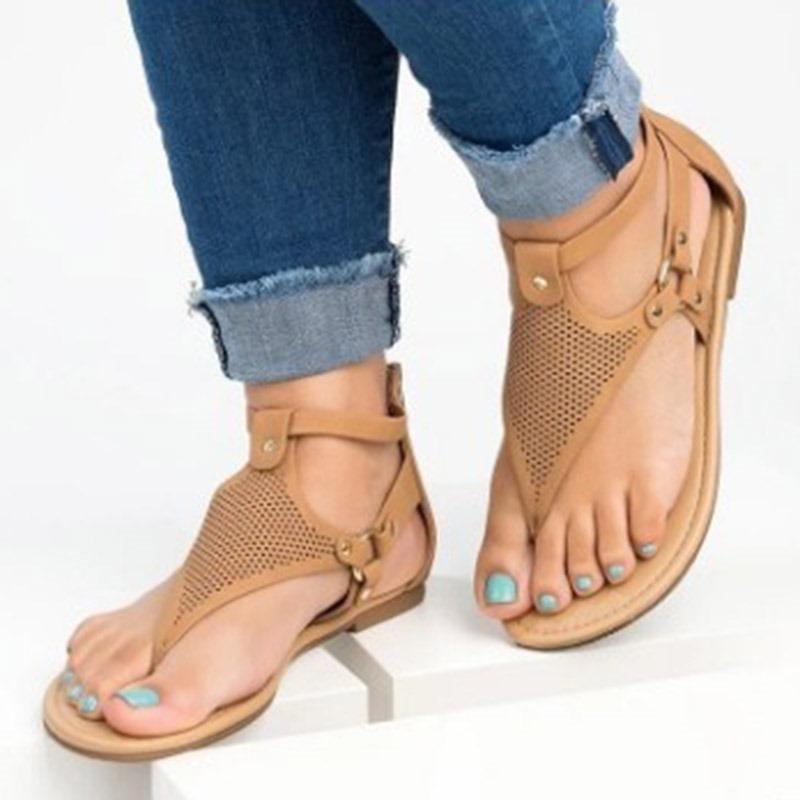 Ericdress PU Heel Covering Buckle Block Heel Women's Flat Sandals