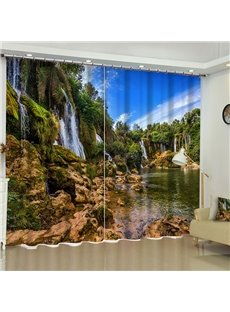 3D Waterfalls Flowing in the Green Mountains Printed 2 Panels Living Room Curtain