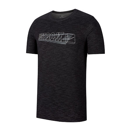 Nike Mens Crew Neck Short Sleeve Moisture Wicking Dri-Fit T-Shirt, Medium , Black