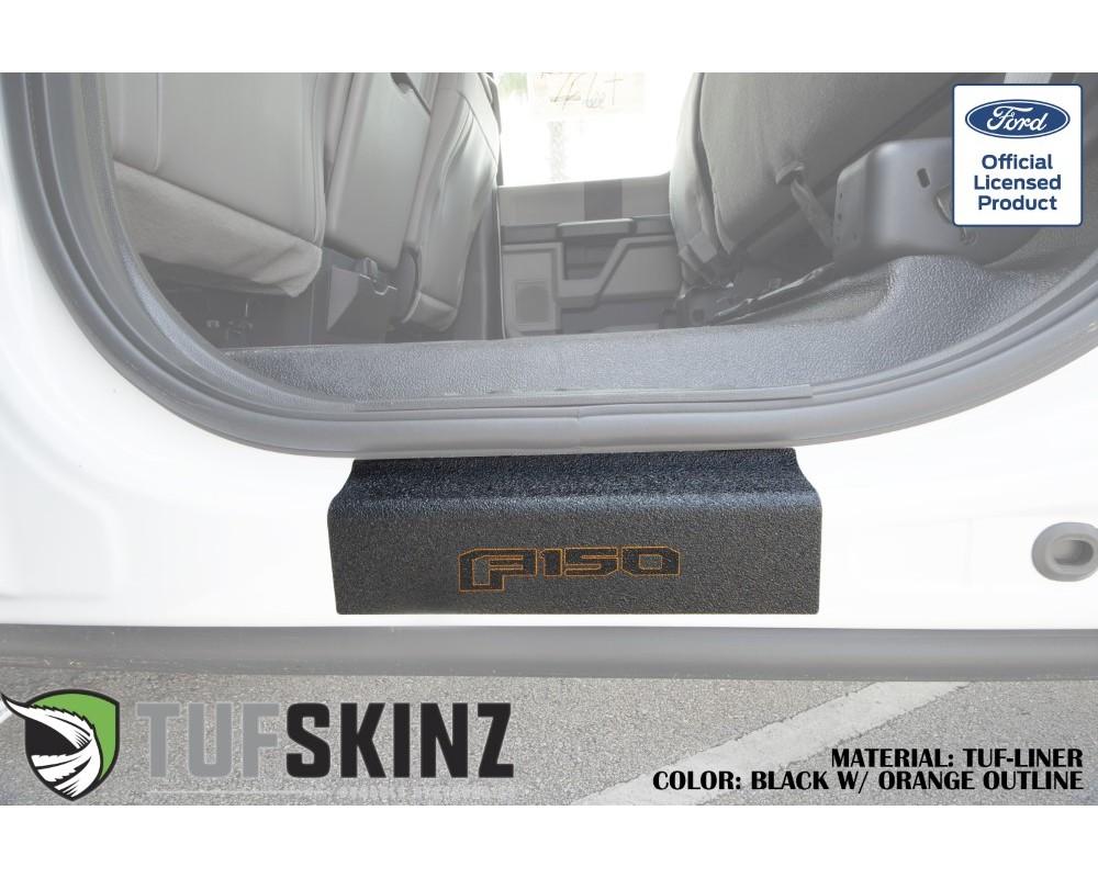 Tufskinz SUP058-FRD-TFLMP-188-X Door Sill Protection Tuf-Liner Series F-150 Logo(Black/Orange) Rear Doors 2 Piece Kit