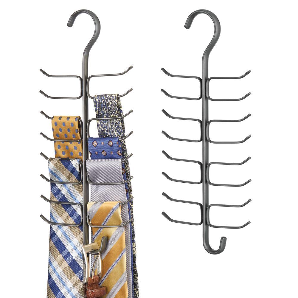 Vertical Tie / Belt Organizer Rack - Closet in Graphite Gray, by mDesign