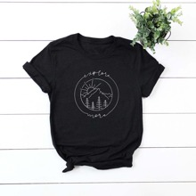 Plus Mountain & Letter Graphic Tee
