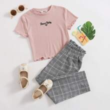 Girls Embroidered Slogan Tee and Paperbag Waist Pants Set