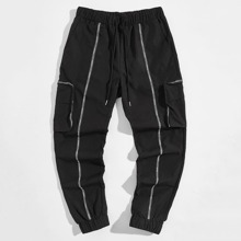 Guys Letter Taped Detail Pants
