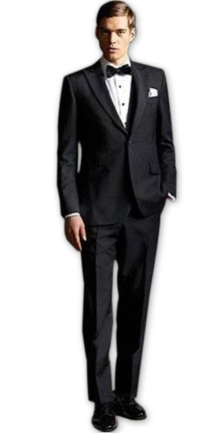 Mens Black high fashion Two Buttons Single Breasted suit