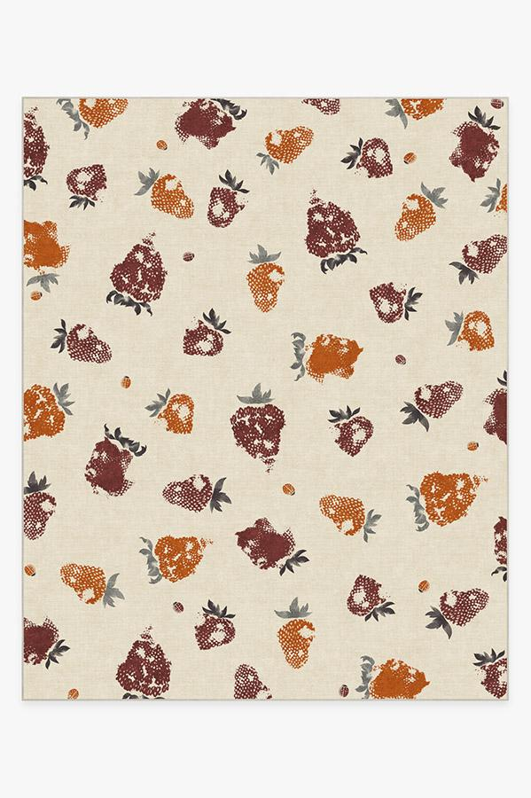 Washable Rug Cover & Pad | Strawberries Orange Rug | Stain-Resistant | Ruggable | 8'x10'