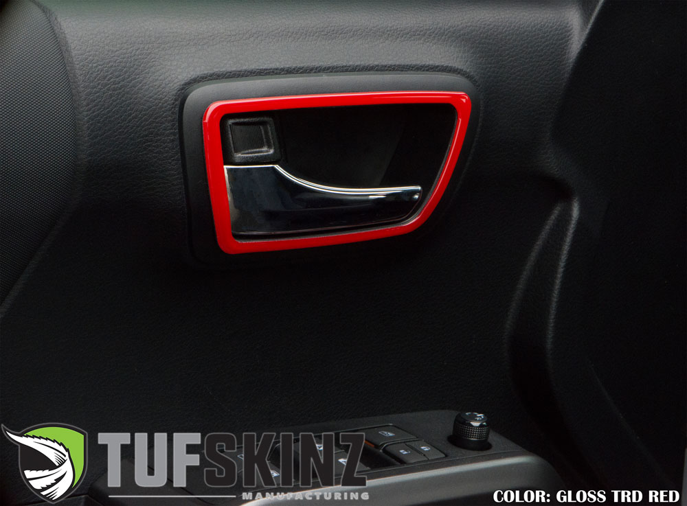 Tufskinz TAC050-RED-G Door Handle Surround 2 Door Accent Trim Fits 16-up Toyota Tacoma 2 Piece Kit Gloss TRD Red