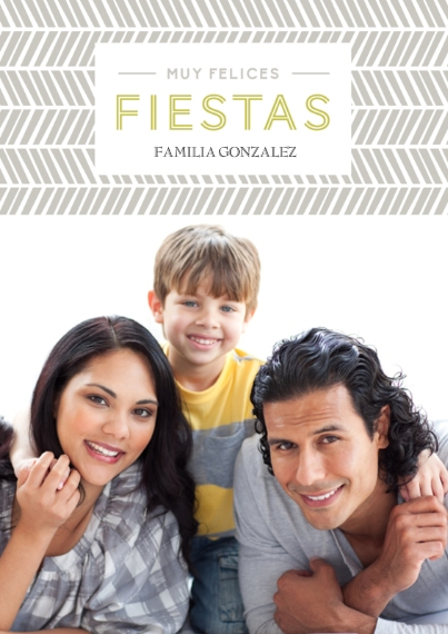 Christmas Photo Cards 5x7 Cards, Premium Cardstock 120lb with Rounded Corners, Card & Stationery -Felices Fiestas Chevron